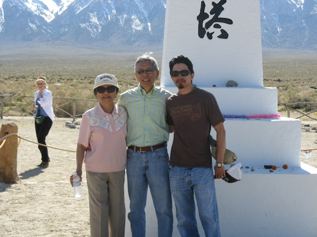 Kay Sakai Nakao, her son Bruce and his son Zack at the Memorial at the Manzanar Cemetary�