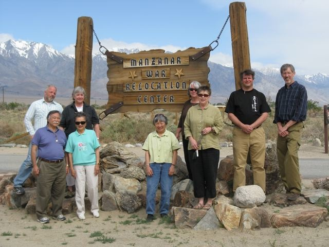 Our OWWCC 2009 Inaugural Delegation at the entrance to the former Manzanar War Relocation Center. �