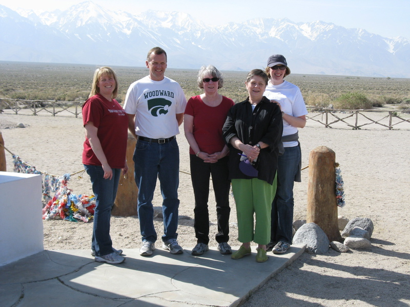 Woodward Middle School educators with Mary Woodward at the Manzanar National Historic Site, April 2011. (OWWCC)�