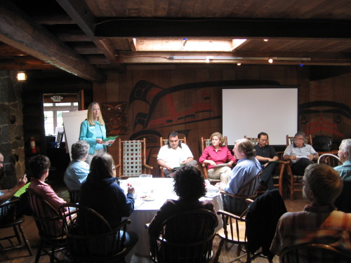 Former Mayor Kathryn Quade and other community leaders talk with participants about citizenship and education, Day One, Kiana Lodge, Suquamish, WA