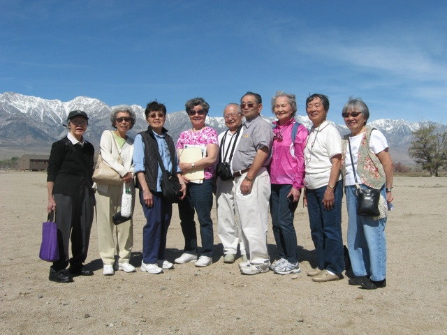 Current and former Japanese American residents from Bainbridge Island at the Manzanar National Historic Site,  where they and their families were incarcerated during WWII, April 16, 2012  L-R: Victor, Yuri Kojima, Lillian Sakuma Aoyama, Yae Sakai Yoshihara, Yo Kitayma Nakata, Vic Takemoto,  Ted Kitayama, Matsue Nishimori Watanabe, Martha Kitayama, Lilly Kodama (OWWCC 2012)