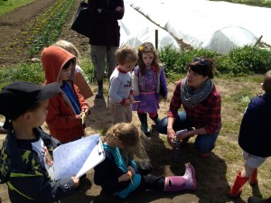 Teacher Heidi talks to ICP students about spring crops.