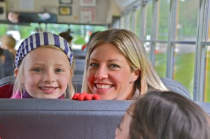EduCulture volunteer and Ordway parent Amy Lenahan with daughter Tierney on their way to Historic Suyematsu Farm.