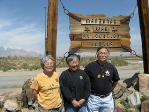(R-L) Frank Kitamoto, sister Lily Kodama and cousin Hisa Matsudaira on our 2010 Delegation to Manzanar.