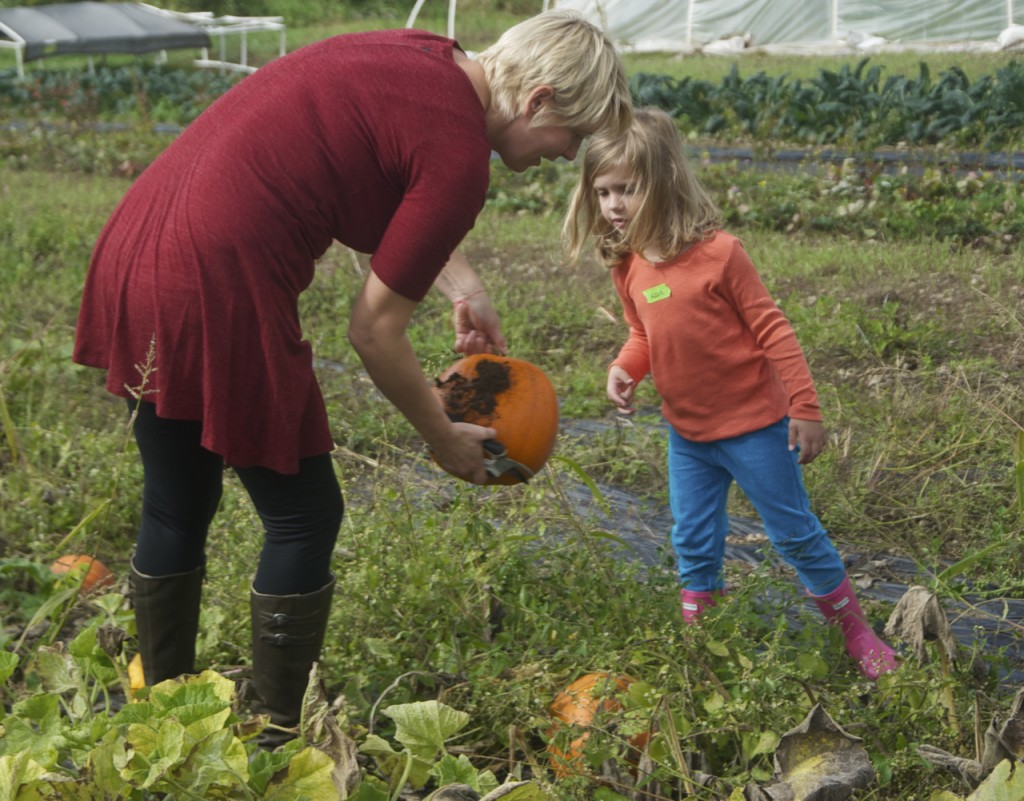 EduCulture Instructor Leslee Pate examines a pumpkin with an ICP student.