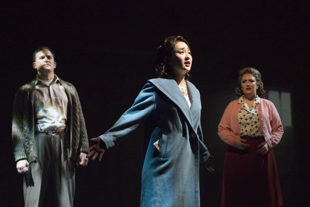 Morgan Smith, Hae Ji Chang, and D'Ana Lombard in Seattle Opera's world premiere of An American Dream production. Photo copyright Elise Bakketun.