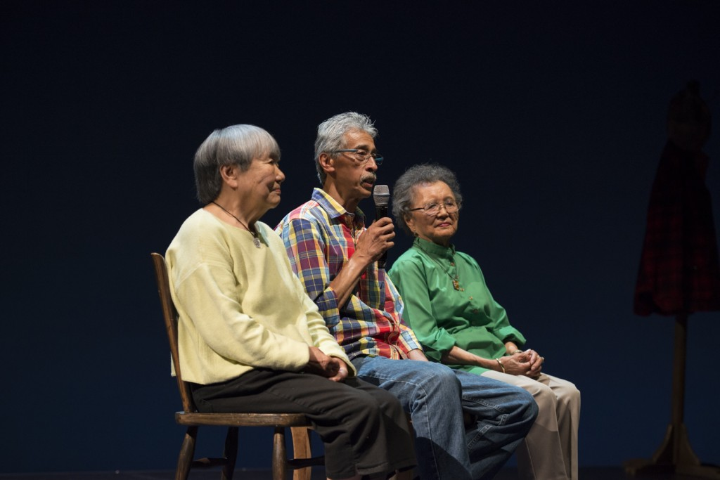 Lilly Kodama, Felix Narte, Jr. and Kay Sakai Nakao on stage at Seattle Opera, McCall Hall.