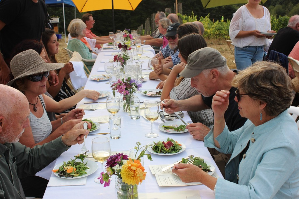 Betsey (left, in hat) at the EduCulture Summer 2015 Farm to Table Dinner at Suyematsu Farm and Bainbridge Vineyards.