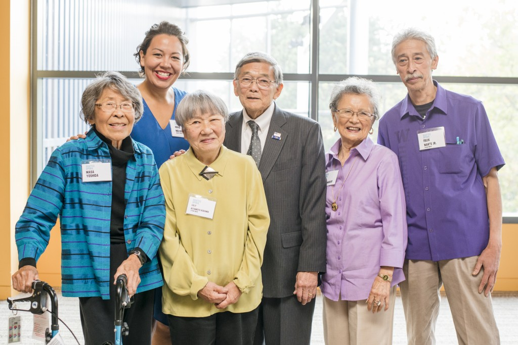 Masa Yoshida, grandmother of Nina Yoshida Nelson (Mama, Hiroko Kobayashi in American Dream), Lilly Kitamoto Kodama, Secretary Norman Mineta, Kay Sakai Nakao, and Felix Narte, Jr. Photo courtesy Jonathan Vanderweit.